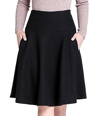 4ff721ed8d Femirah Women's Smocked Waist A Line Midi Wool Skirt Pockets (Waist  68cm/26.8 inch