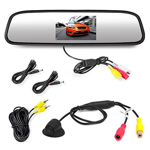 Pyle PLCM4340 Car Vehicle Rearview Backup Camera & Mirror Monitor Parking Kit, Waterproof Night Vision Cam, 4.3'' Screen, Distance Scale Lines, Night Vision