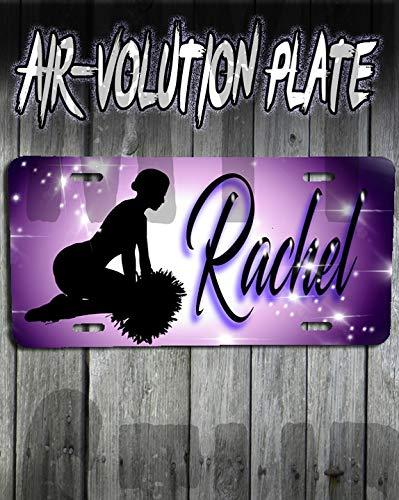 Plate Girl Cheerleader (Personalized Airbrush Cheerleader License Plate Tag)