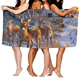 Chu warm Yoga Towel Winter Whitetail Deer Custom Personalized Microfiber Absorbent Solid Large Beach Blanket