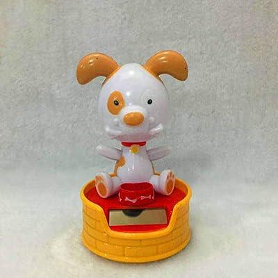 AKDSteel Halloween Shook His Head Doll Solar Powered Dancing Swinging Animated Toy Car Decor 11cm high Bone Dog Beige -for auto: Automotive