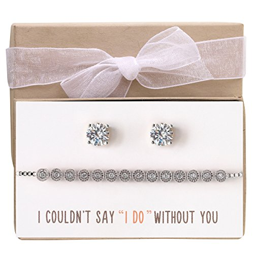 76baebec4 AMY O Wedding Bridesmaid Jewelry Gift, Bracelet and Earring Set in Silver