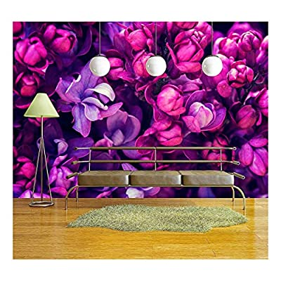 Lilac Flowers Background - Removable Wall Mural | Self-Adhesive Large Wallpaper - 100x144 inches
