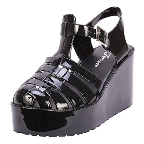 Coshare Women's Fashion T-Strap Retro Jellies Flatform Platform Wedge Sandals, Black, 7.5 (Flatform Jelly Sandals compare prices)