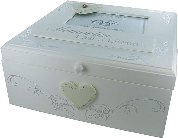 Recuerdos Duran toda una vida hermosa caja de fotos de recuerdo de Memory Box recuerdos de madera: Amazon.es: Hogar