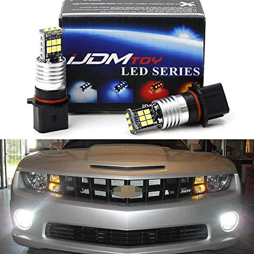 iJDMTOY (2) Super Bright HID White P13W High Power CREE 15-SMD LED Bulbs For 2010-2013 Chevy Camaro Fog Lights Daytime Lights