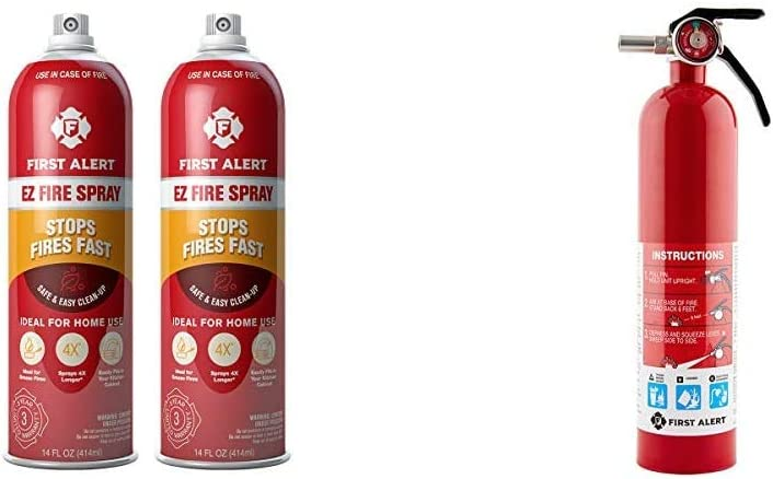 First Alert Fire Extinguisher | EZ Fire Spray Fire Extinguishing Aerosol Spray, Pack of 2, AF400-2 & 1038789 Standard Home Fire Extinguisher, Red