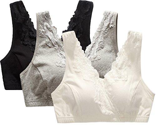 CAKYE® Lace Nursing Bra Sleep Tank For Maternity And Breastfeeding ( Medium/36B,36C,36D, Black+Grey+White)