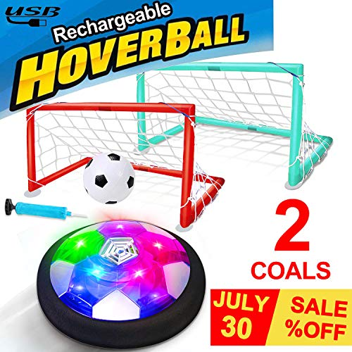 Kids Toys Hover Soccer Ball USB Rechargeable Air Soccer with 2 Goals Indoor Outdoor Soccer Ball with LED Light Foam Bumper Fun Game for Boys Girls Toddler Inflatable Ball Included No Battery Needed