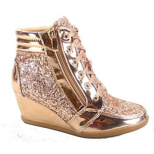 Forever Link Peggy-44 Women's Fashion Glitter High Top Lace Up Wedge Sneaker Shoes (7 B(M) US, Rose Gold)