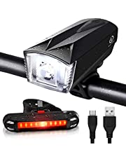iTechole Bike Light Set, Rechargeable Bicycle Lights with 300LM Waterproof Front Headlight and 100LM Tail Light, Adjustable Lighting Modes, Cycling Lights for Road & Mountain- Easy to Fit