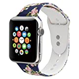 Sport Band For Apple Watch,Choose Proper Color & Size-38MM S/M,38MM M/L,42MM S/M or 42MM M/L,Floraler Soft Silicone Strap Replacement Wristbands For Apple Watch Sport Series 3/2/1