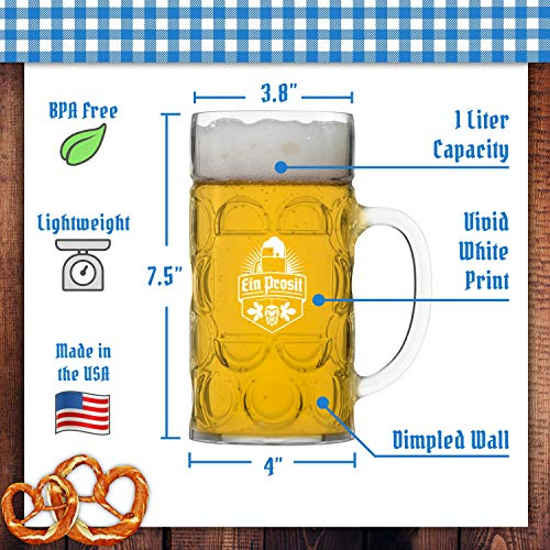 Unbreakable 1L Oktoberfest German Beer Mug with Handle (44 oz.) Classic Stein with Dimpled Finish- Vintage Party Brew Tankard- Thick, Durable Styrene- Made in USA by DU VINO (Image #2)