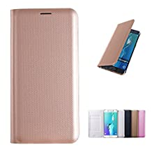 Flip Samsung S6 Edge Case, Samsung Galaxy S6 Edge Case Cover Wallet, Phone Cases with card slot Full Body pu Leather in Gold Slim Thin Hard