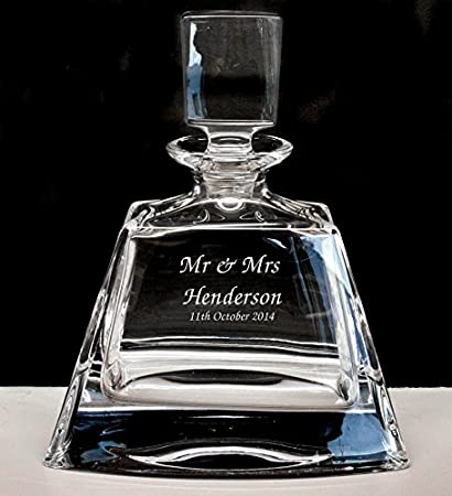 Engraved Wedding Gift Personalised 24/% Lead Crystal Whisky Glass Decanter