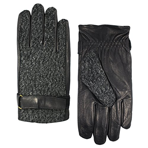 Grandoe Men's Brushed Wool Mixed Media Glove with Belt and Leather Palm, Black, X-Large ()