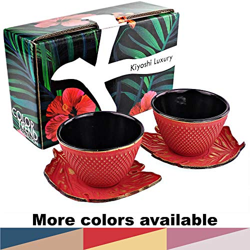 KIYOSHI Luxury Japanese Cast Iron Tea Cups Set 4 pieces - 2 Large Teacups (4,06Oz) + 2