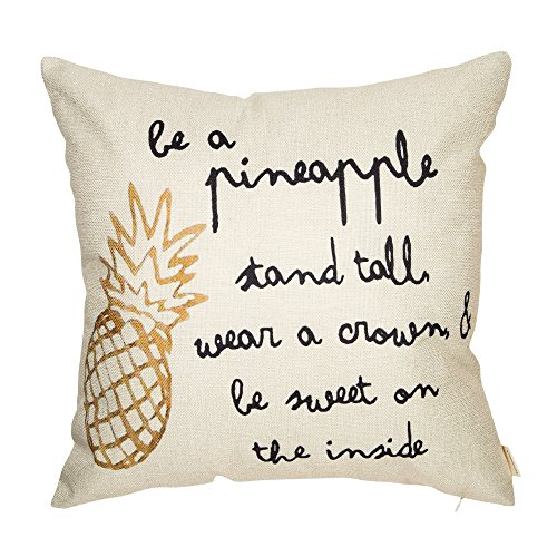 Fahrendom Be a Pineapple Stand Tall Wear a Crown ans Be Sweet on the Inside Inspirational Quote Cotton Linen Home Decorative Throw Pillow Case Cushion Cover with Words for Sofa (Graduation Inspirational Words)