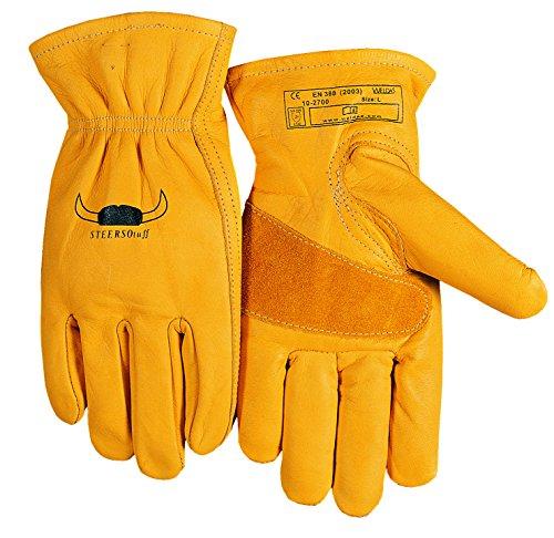 (2 PAIRS) Weldas STEERSOtuff Yellow Top Grain Cowhide, Keystone Thumb - Material Handling/Work Driver´s Style Gloves - Size L ()