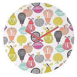 Deny Designs Wendy Kendall,  Retro Fruit , Round Clock, Round, 12