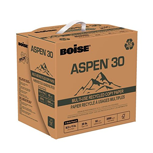 BOISE ASPEN 30 SPLOX MULTI-USE RECYCLED COPY PAPER, 8 1/2'' x 11'', 3 Hole Punch, 92 Bright White, 20 lb., 2500 Sheets/Carton, 80 Cartons/Pallet