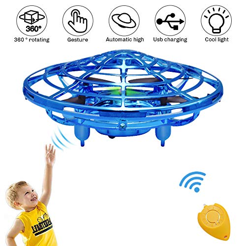 UFO Flying Ball Toys, Gravity Defying Hand-Controlled Suspension Helicopter Toy, Infrared Induction Interactive Drone Indoor Flyer Toys with 360° Rotating & LED Lights For Kids, Teenagers Boys Girls (Head Rotor Heli Max)
