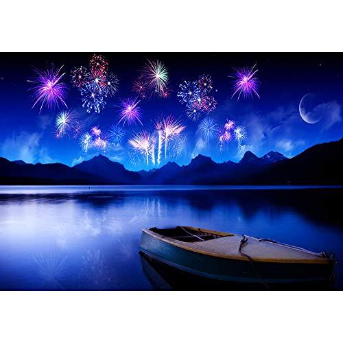 5D Diamond Painting Rhinestone Sky Blue Fireworks River Boat Embroidery Wallpaper DIY Wall Sticker by Number Kits Full Drill Kits Full Drill Cross Stitch Arts 30X40CM (Threads Diamond)