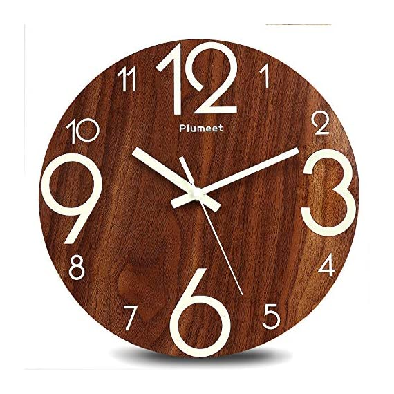 Plumeet Luminous Wall Clocks - 12'' Non-Ticking Silent Wooden Clock with Night Light - Large Decorative Wall Clock for Kitchen Office Bedroom (Wood) - GLOWING CLOCK ADVANTAGE -- Night lights function & long light up time, super quiet & non-ticking, big numbers perfect for the elderly or the visually restricted people. INCREDIBLE LUMINOUS TIME -- Light up more than 3 hours if clock receives enough sunlight at day, Four extra large numbers makes it easier to read at night. ANALOG SILENT CLOCK -- Precise quartz movements to guarantee accurate time, sweeping movement ensure a good sleeping and work environment. Made of wood, rich in rustic features. - wall-clocks, living-room-decor, living-room - 51pqGC2jw8L. SS570  -