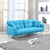 Divano Roma Modern Tufted Linen Sleeper Futon Sofa, Light Blue Deal (Small Image)