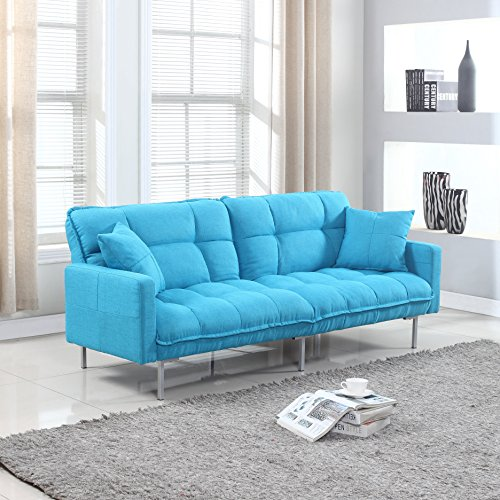 Divano Roma Furniture Collection - Modern Plush Tufted Linen Fabric Splitback Living Room Sleeper Futon (Light Blue) - Futon Living Room Sets