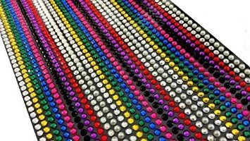 CraftbuddyUS 1500 x 5mm Self Adhesive Rhinestones Individual Gems Stick On Multi Colors