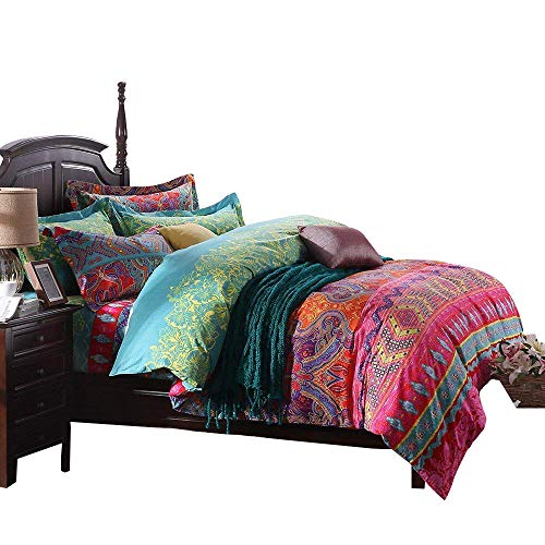 FADFAY Ethnic Style Bedding Sets, Morocco Bedding, American Country Style Bedding, Bohemian Style Bedding, Boho Duvet Cover, Queen King Size (California King) 4Pcs - Morocco Comforter Set