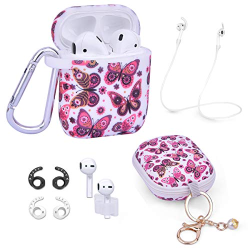 Airpods Case - Airspo 7 in 1 Airpods Accessories Set Compatible with Airpods 1 & 2 Protective Silicone Cover Floral Print Cute Case (White+Butterfly)
