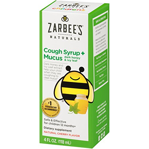 Childrens Cherry Syrup (Zarbee's Naturals Children's Cough Syrup + Mucus with Dark Honey & Ivy Leaf, Natural Cherry Flavor, 4 Ounce Bottle)