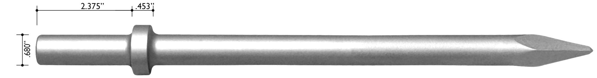 Champion Chisel, 18-Inch Long .680 Round Shank Round Collar Chipping Hammer Moil or Bull Point