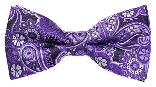 Flora&Fred Men's Designer Handmade Hendrix Paisley Bow Tie Purple