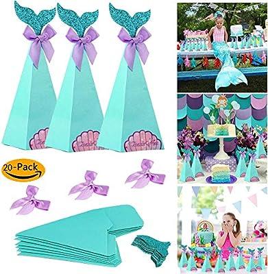 Sirena Dulces Cajas de dulces Bolsa de regalo de papel Cumpleaños Sirenita Fiesta Favor Decoraciones de Baby Shower Boda Colas de novia Arcos Tratar ...