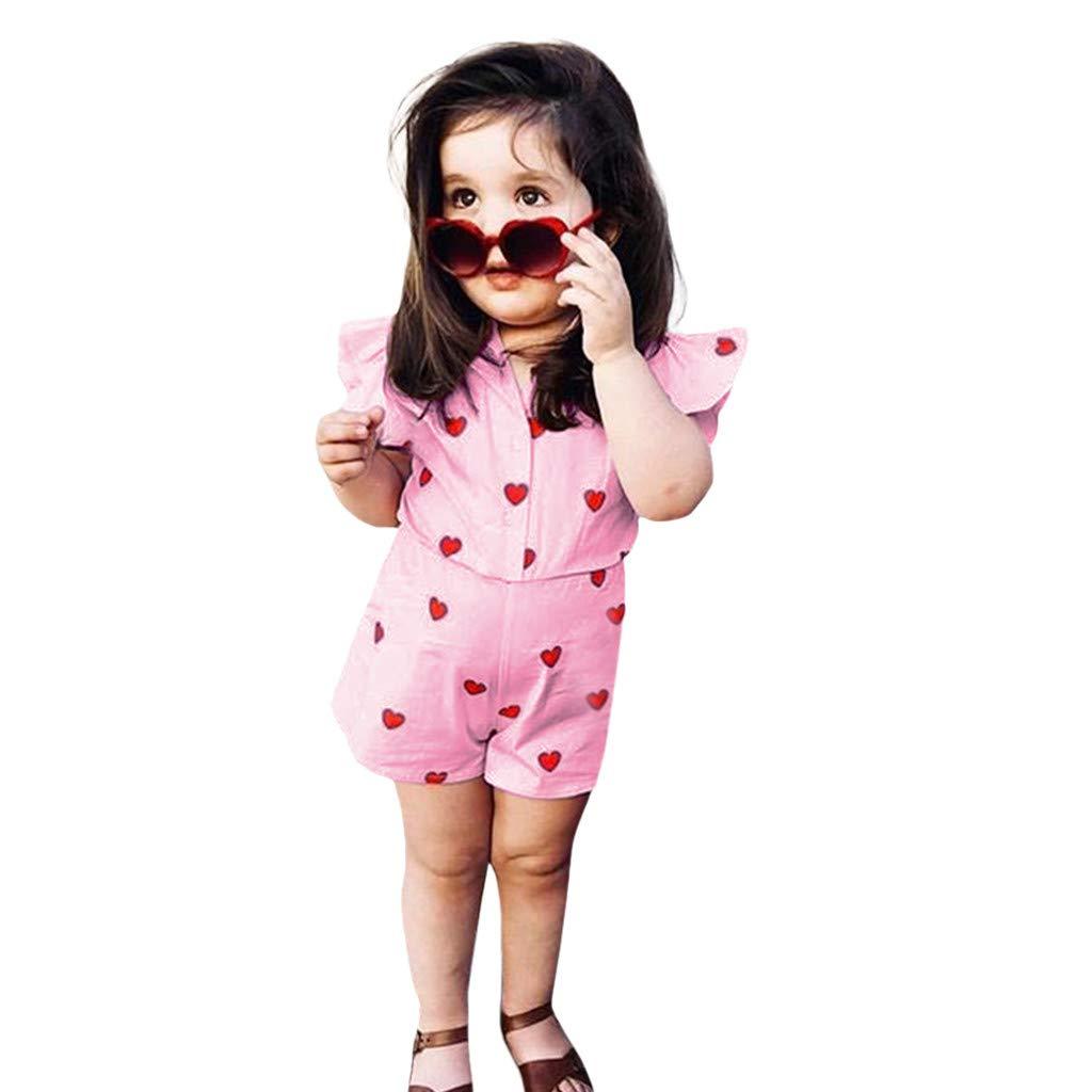 Jimmackey Neonata Falbala Camicia Pagliaccetto Cuore Animale Stampa Tutine Body Vestiti Beb/è 0-24 Mesi