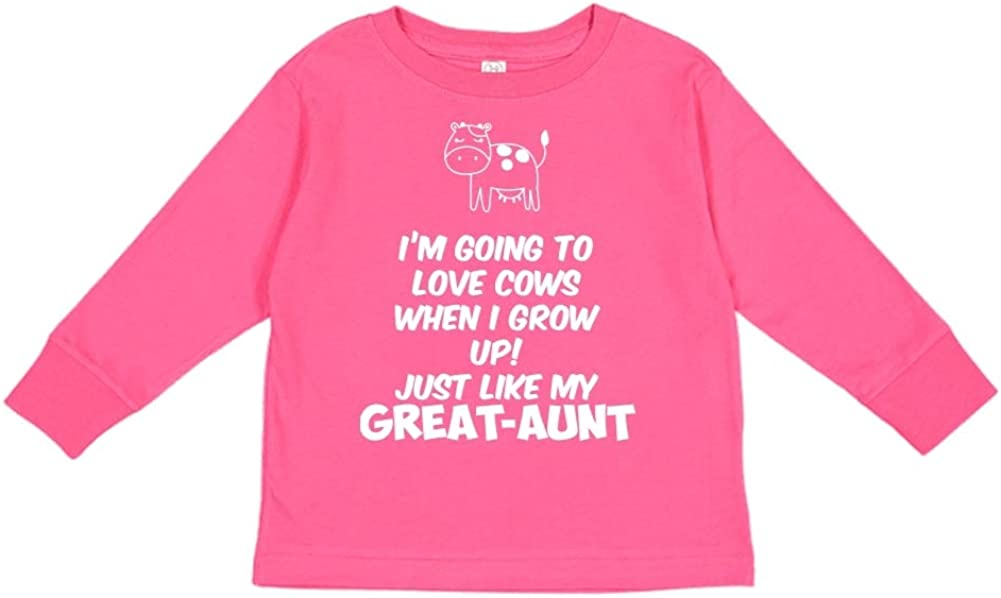Toddler//Kids Long Sleeve T-Shirt Im Going to Love Cows When I Grow Up Just Like My Great-Aunt