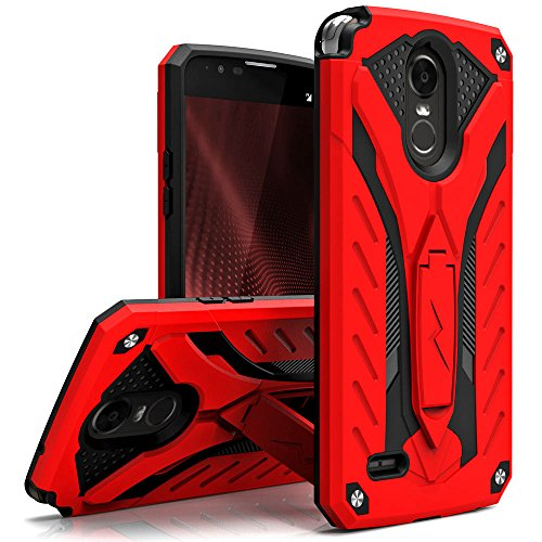 Zizo Static Series Compatible with LG Stylo 3 Case Military Grade Drop Tested with Built in Kickstand LG Stylo 3 Plus RED Black