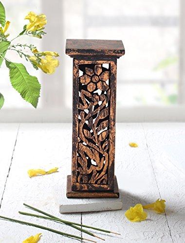 Tower Incense (Incense Holders and Burners : Wooden Incense Stick Tower Burner Stand Holder Handmade Ash Catcher Floral Design)