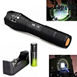 Linternas, Mostsola 3500 Lumen 5 Modos Cree XML-T6 Alta Potencia LED Zoomable Linternas + Charger + 18650 Battery (Torch + 18650 Battery + Charger)