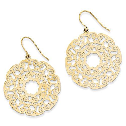 14k Gold Fancy Lace Filigree Dangle Earrings (1.89 in x 1.38 in)