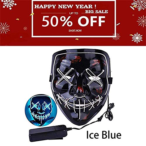 Halloween Mask LED Light up Purge Mask Frightening Wire Cosplay for Festival Parties Costume Received Before Halloween(Ice Blue) -