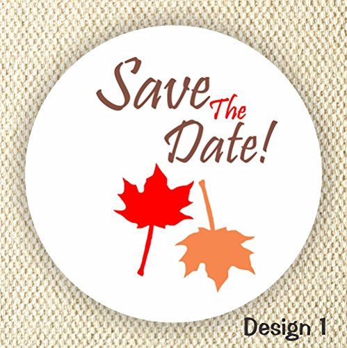 (Save the Date Stickers - Wedding Stickers - Maple leafs - Fall Wedding)
