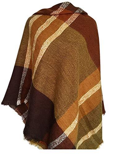 Zando Plaid Blanket Thick Winter Scarf Tartan Chunky Wrap Oversized Shawl Cape Brown