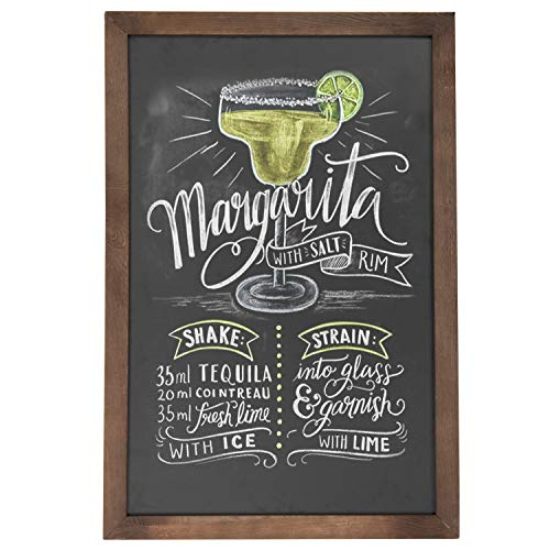 Large Chalk Board (Vintage Wall Mounted Brown Wood Framed Chalkboard Sign / Retail & Cafe Menu Board - 36 x)