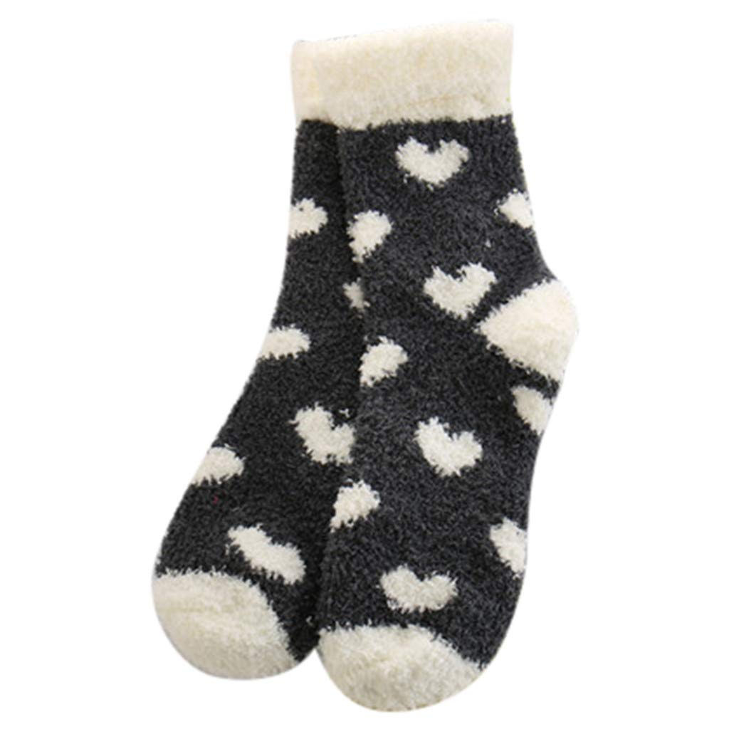 Fine Winter Ladies Warm Sleep Socks Towel Socks Floor Socks Balls Coral Fleece Socks (Black)