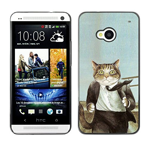 Plastic Shell Protective Case Cover || HTC One M7 || Cat Suit Businessman Art Drawing Painting @XPTECH