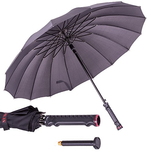 NUNCHUCK GRIPS  Full Size Umbrella with Interchangeable Pepper Spray Accessory Hidden within the Grip